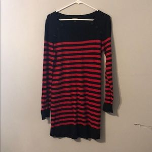 Long sleeved stripped sweater dress